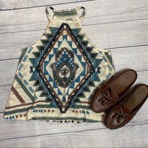 - Gaze USA Aztec Evil eye boho halter sweater